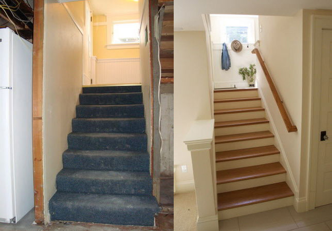 Basement Stairs Before and After