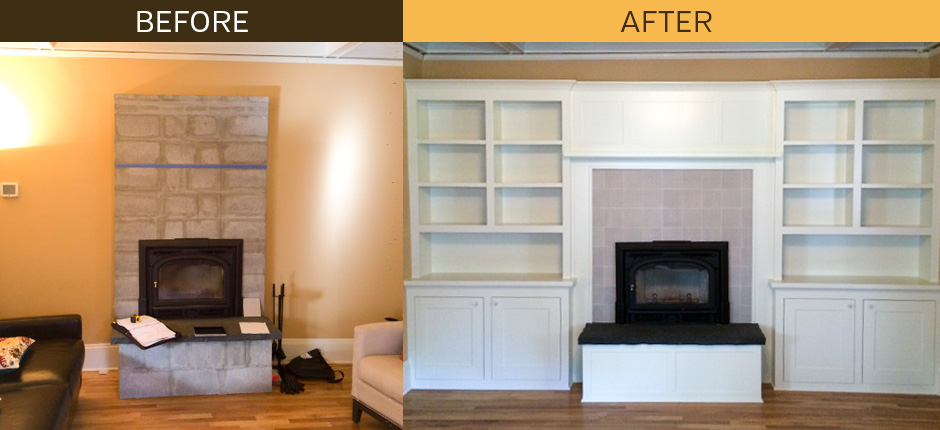 Before & After Built-Ins Around Fireplace