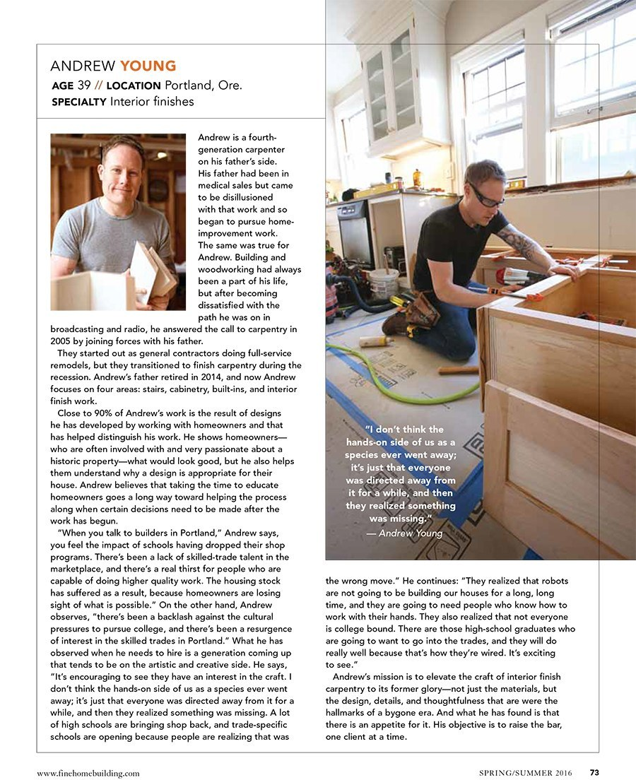 Fine Homebuilding Magazine article featuring Young and Son Woodworks