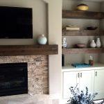 Knotty Alder Beam Builtin Shelves
