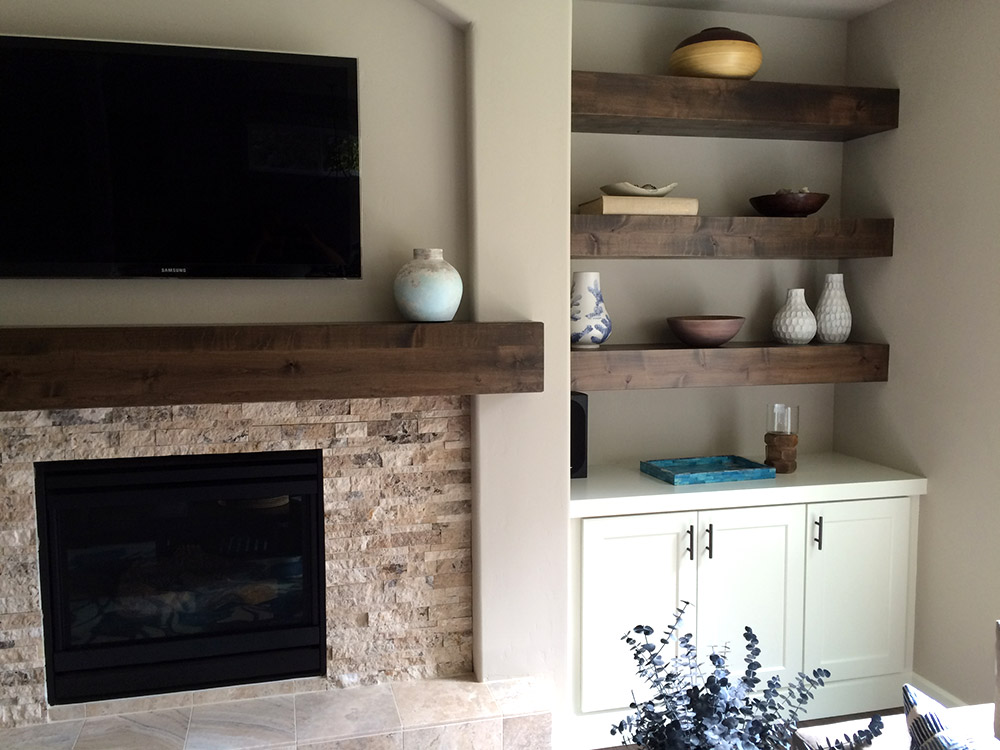 Knotty Alder Beam Builtin Shelves