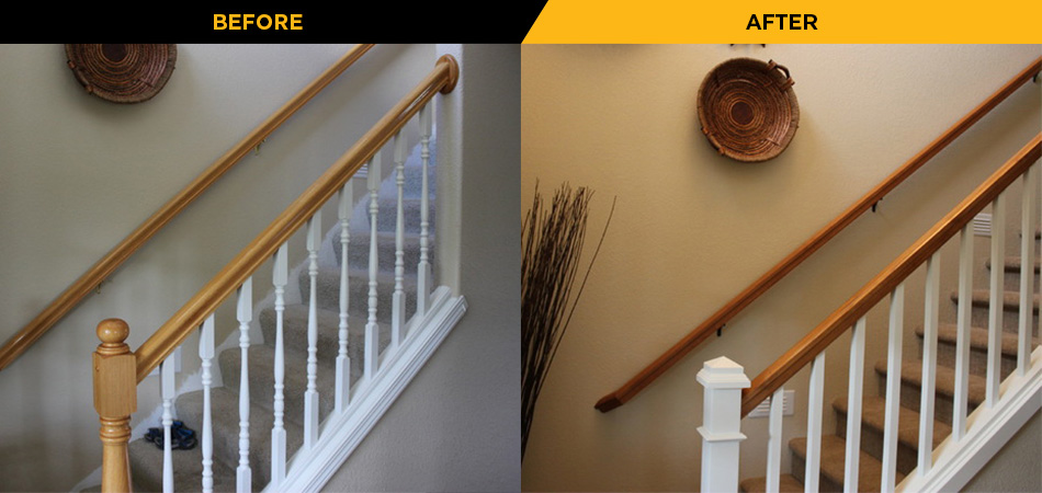 Staircase Remodel Before and After Photo