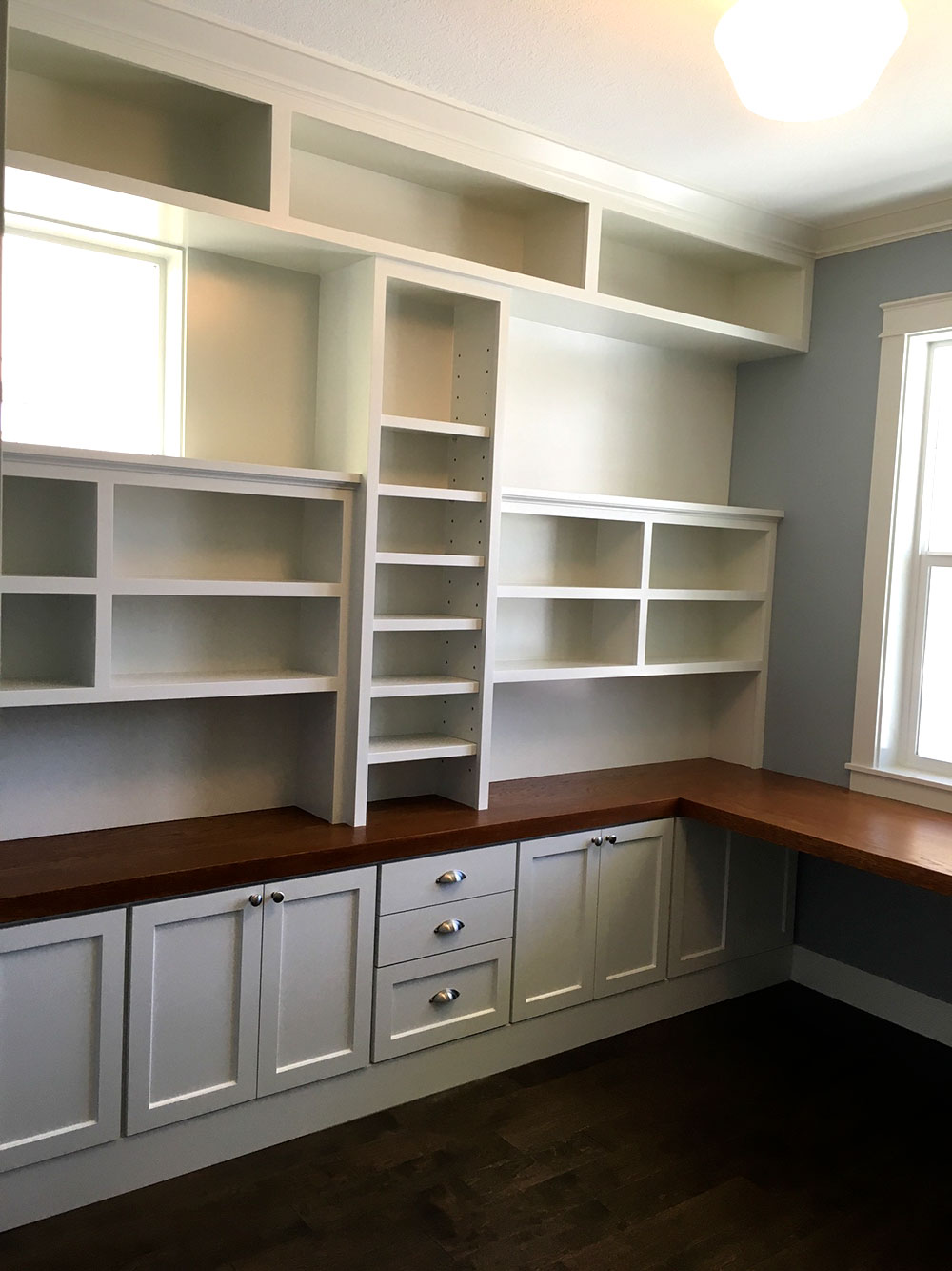 Wall To Wall Builtin Shelves Young Son Woodworks Stairs Built