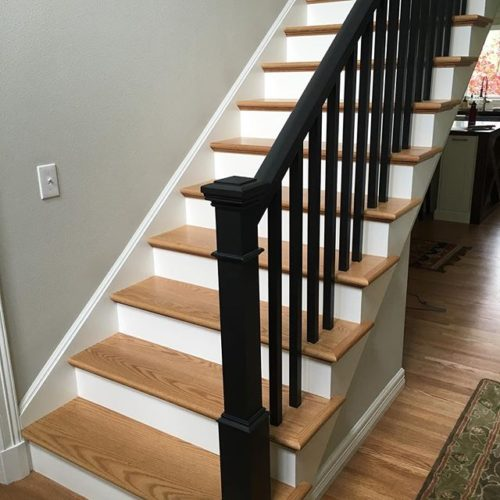 Red oak stairs with black staircase railing